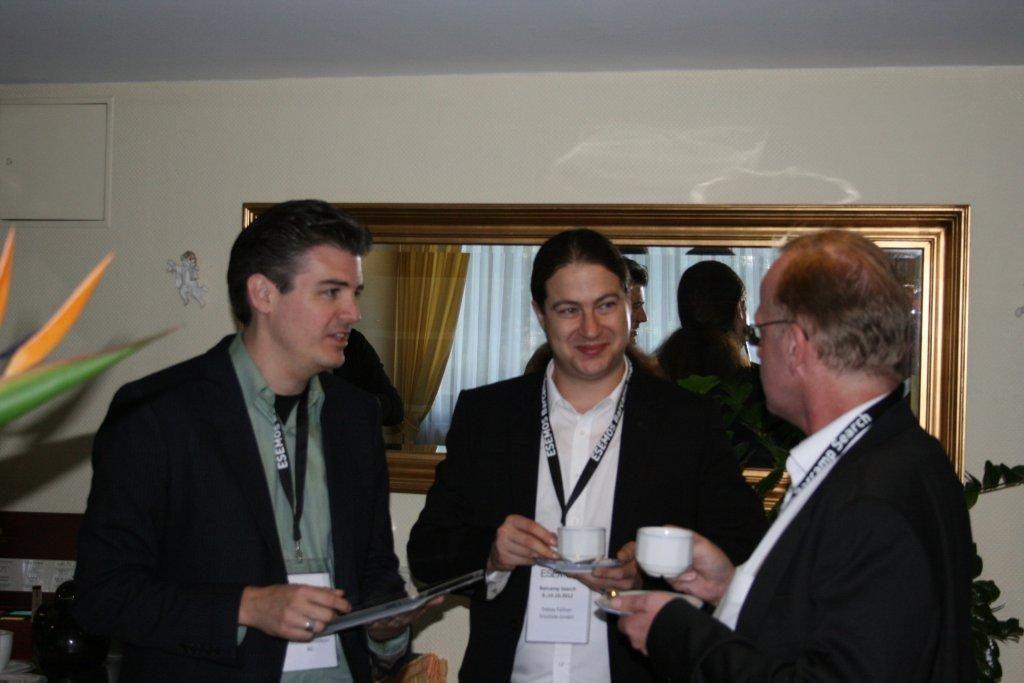 Kaffeepause Jens Fauldrath, Tobias Fellner, Peter Rieger (von links nach rechts)